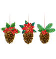 Christmas decorations from pine cones vector image