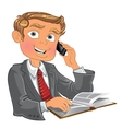 Blond men with phone and book vector image vector image