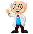 Professor cartoon waving hand vector image vector image