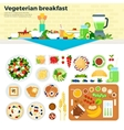 Vegetarian breakfast on the table vector image