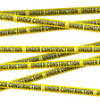 Yellow under construction danger tape vector image