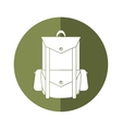 backpack travel hiking equipment camping button vector image