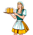 beautiful young woman waiter holding tray with vector image