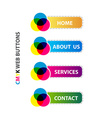 cmyk web buttons interface set vector image