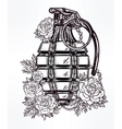 Hand drawn design of grenade in flowers vector image