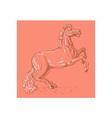 Horse sketch drawing prancing vector image