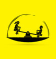 little boy and girl are playing seesaw together vector image