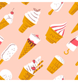 pattern with ice cream in cartoon style vector image