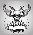 skulls wings tattoo hand drawing vector image