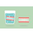 denture in water glass vector image vector image