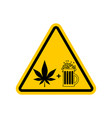 attention drugs and alcohol dangers yellow road vector image