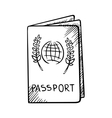 Passport sketch with globe on cover vector image