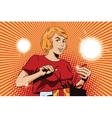 People in retro style Cute girl opens a gift vector image