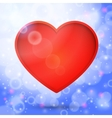 Red heart in the bright lovely air with sun beams vector image