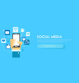 social media banner phone with icons vector image