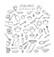Hand Drawn Kitchen Tools Set Kitchenware vector image
