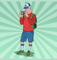pop art mature man taking picture with camera vector image vector image