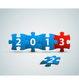 New Year 2013 card made from blue and red puzzle vector image