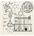 Hand drawn science lab icons sketch set vector image