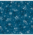 Blue seamless background with christmas gifts vector image