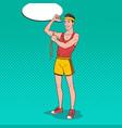 pop art funny sportsman measures his muscles vector image