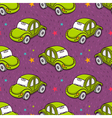 seamless pattern with cute green toy beetle car vector image