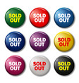 set of round buttons with words sold out vector image