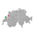Map of Switzerland with flag of Neuchatel vector image vector image