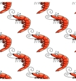 Cartoon red shrimps seamless pattern vector image vector image