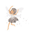 beautiful smiling gray fairy girl flying colorful vector image