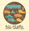 big traffic doodle emblem vector image