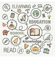 Education hand draw integrated icons set vector image