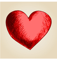 Sketch drawing of a heart symbol vector image