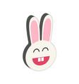 smiling bunny symbol flat isometric icon or logo vector image
