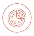 Whole pizza with slice line icon vector image