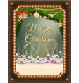 Christmas frame with winter village vector image vector image
