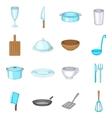 Basic dishes icons set cartoon style vector image