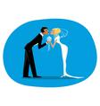 Bride and bridegroom kissing vector image