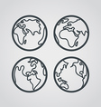 Earth web icons collection Round lineart design vector image