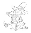 Elf leprechaun smoking pipe vector image