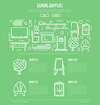 school supplies poster in linear style vector image