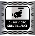 Video surveillance symbol on a metallic chromium vector image