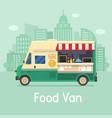 retro food van on city background vector image