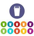 plastic flip lid bin icons set flat vector image