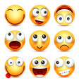 Smileyemoticon set yellow face with emotions vector image