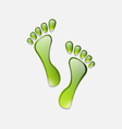 water green human foot print isolated on white vector image