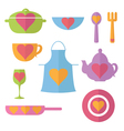 set flat icon of kitchen vector image