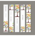 Set of vertical banners with floral tree vector image