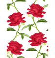 seamless background with pink roses with stem vector image