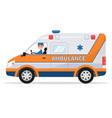cartoon van medical car with driver man vector image